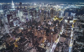 Wallpaper USA, the city, New York, night, the evening, lights
