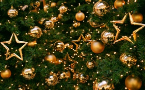 Picture stars, balls, toys, tree, New year