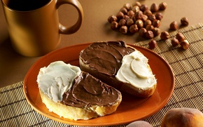 Picture food, chocolate, plate, bread, Cup, plate, nuts, cream, food, cup, chocolate, 1920x1080, nuts, cream, bread
