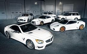 Picture Mercedes-Benz, Porsche, F430, Ferrari, Nissan, white, GT-R, Land Rover, Range Rover, Cayenne, SL-class