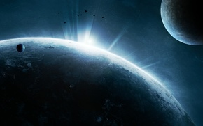 Picture stars, surface, lights, planet, the atmosphere, asteroids, satellites, civilization