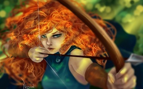 Picture girl, hair, bow, art, arrow, red, curls, Brave, Merida