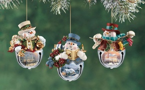 Picture decoration, snowmen, Christmas, figures, fun, Thomas Kinkade, Thomas Kinkade, Christmas, decoration, Kincaid, with pictures, the …