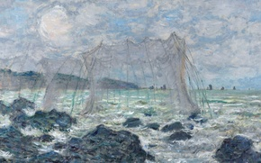 Picture Claude Monet, picture, seascape, Fishing nets in Purvile