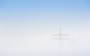 Picture the sky, fog, power lines