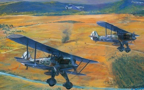 Picture figure, art, roy cross, bf-109, Heinkel, He 51