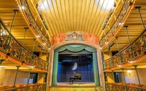 Picture scene, piano, balcony, hall, Brazil, Minas Gerais, Ouro Preto, municipal theatre