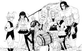 Picture girls, mountain, hammer, guys, barrel, anime, art, Hawk, King, Meliodas, Nanatsu no Taizai, Nanatsu no …