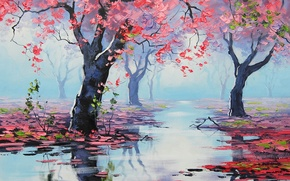 Picture figure, art, artsaus, spring bossom reflections