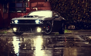 Picture Muscle, Dodge, Challenger, Car, Front, Black, Rain, Tuning, SRT, Ligth