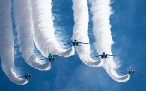 Picture holiday, group, show, flight, Blue Impulse, Kawasaki T-4