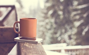Picture Cup, hot, winter, snow, cup, smartphone, coffee