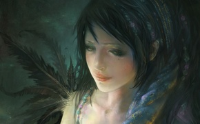 Picture feathers, beads, reverie, sadness, oil painting, face, shawl, figure, girl