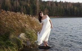 Picture forest, girl, river, the wind, dress, brown hair