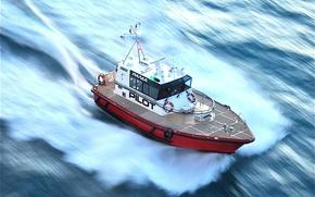 Picture sea, speed, ship, boat, pilot boat