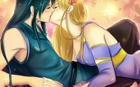 Picture flower, girl, kiss, anime, petals, art, pair, guy, tielss