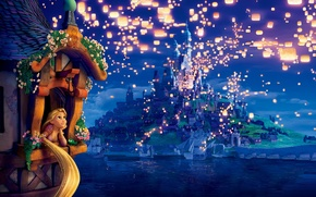 Wallpaper dreams, flowers, lights, tower, the evening, lights, Rapunzel, lanterns, Princess, night, evening, Tangled, Complicated story, ...