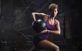 Wallpaper women, ball, pose, weight, workout, fitness