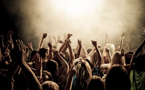 Picture music, photo, mood, smoke, the crowd, club, concert, instrumento, applause, crowd people, Concert smoke, youth