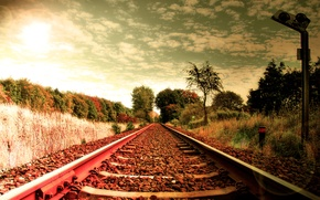 Picture grass, the way, the way, stones, creative, landscapes, road, rails, railroad, sleepers, railroad