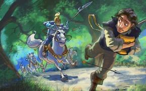 Picture road, forest, figure, cartoon, chase, armor, art, arrows, riders, spears, Tangled, Flynn, Flynn, Walt Disney, …