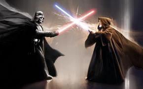 Picture weapons, sword, Star Wars, helmet, Darth Vader, cloak, Darth Vader, the fight, light, Obi-Wan Kenobi, …