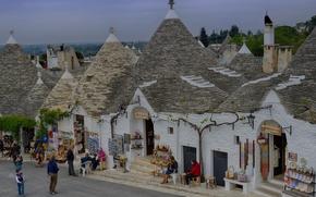 Picture roof, street, home, Italy, Apulia, cone, Alberobello, Trulli