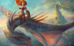 Picture girl, flight, dragon, tower, art, spear, red, shield, top