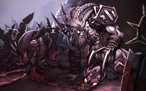 Picture Rengar, hunting, Terror of the Void, Cho'Gath, League of Legends, Pridestalker
