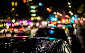 Picture machine, night, the city, lights, rain, bokeh