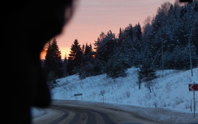 Picture winter, road, sunset, Perm