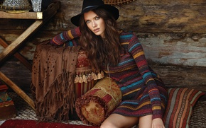 Picture girl, hat, makeup, brunette, hairstyle, beauty, jumper