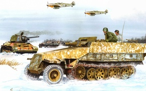 Wallpaper snow, figure, aircraft, tank, the Germans, the Wehrmacht, APC, Don Greer, Sd.Car. 251/9 Stummel
