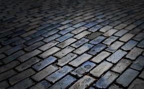 Picture road, color, stones, texture, bricks, dark, paving