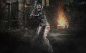 Picture girl, background, rain, hair, blow, baseball bat, braids