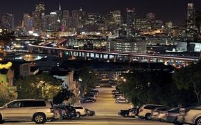 Picture The city, Slide, Portrero Hill, Lights, San Francisco, Night, Machine, Home, Road
