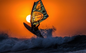 Picture sea, wave, the sky, the sun, landscape, sunset, sail, Board, Windsurfing