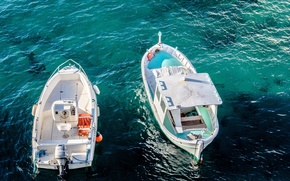Picture sea, ocean, water, two, day, liquid, boats, motorboats