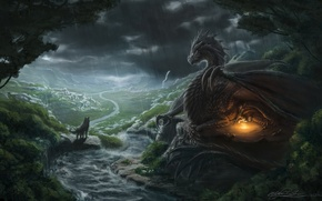 Picture fiction, dragon, people, wings, the fire, art, look. rain