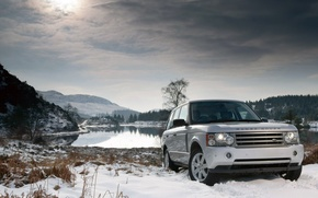 Picture winter, snow, lake, land rover