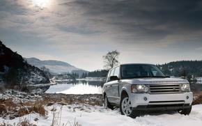 Wallpaper winter, snow, lake, land rover