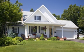 Picture design, house, lawn, mansion, the bushes