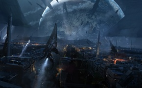Picture the city, planet, ships, mass effect 3, the reapers, reapers