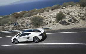 Picture road, auto, white, McLaren, speed, supercar, 570GT