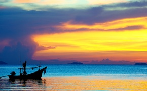 Picture sea, sunset, boat, the evening