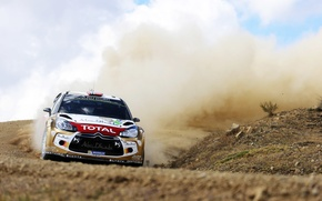 Picture Dust, Sport, Machine, Turn, Citroen, Skid, Day, Citroen, Heat, DS3, WRC, Rally, Rally