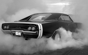 Picture strip, lights, smoke, tires, the trunk, body, cherono, white, Dodge Charger RT