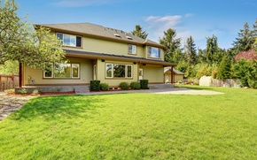 Picture grass, design, lawn, House, mansion