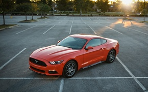 Picture Ford, mustang, red, parking, 2015