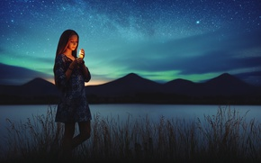 Picture lights, girl, grass, dress, night, mountains, lake, stars, candle, milky way, northern lights, peaks, silhouettes, ...